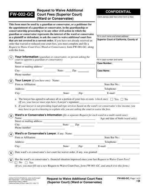 Form FW-002-GC  Printable Pdf