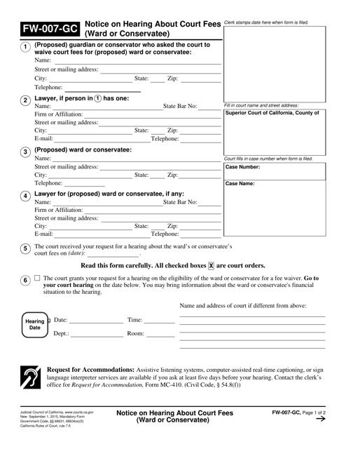 Form FW-007-GC  Printable Pdf