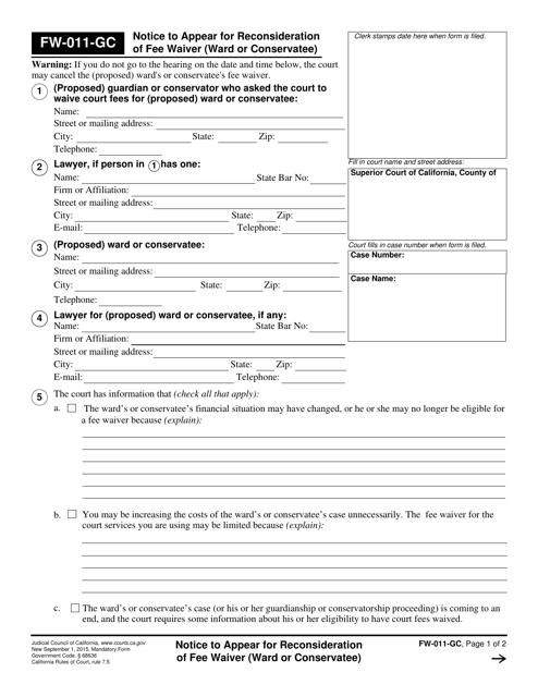 Form FW-011-GC  Printable Pdf