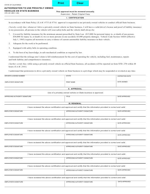 Form STD.261  Printable Pdf