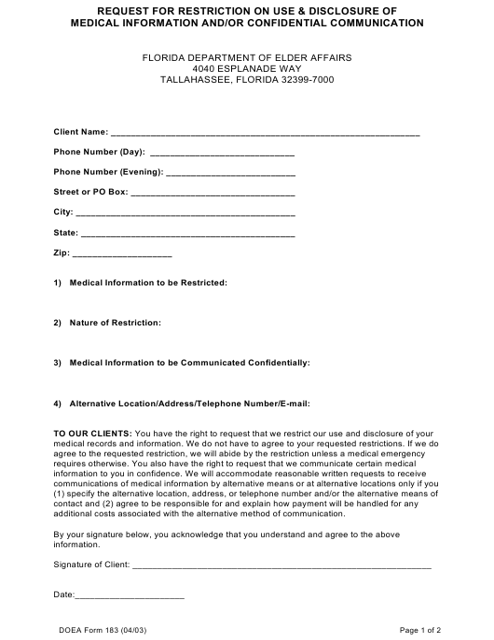DOEA Form 183  Printable Pdf