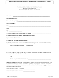 "DOEA Form 185 ""Amendment/Correction of Health Record Request Form"" - Florida"