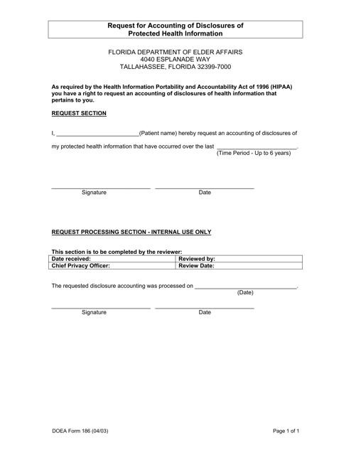 DOEA Form 186  Printable Pdf