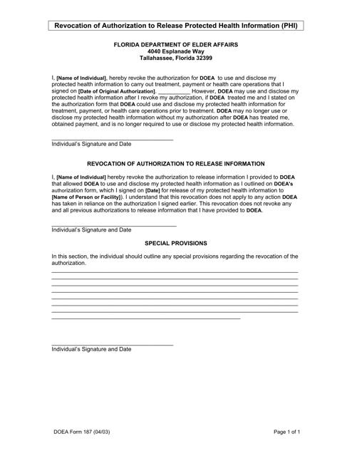 DOEA Form 187 Printable Pdf