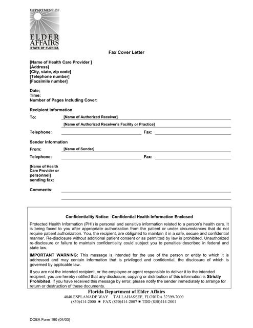 DOEA Form 190  Printable Pdf