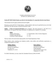 "Form CR2E012 ""Articles of Dissolution to Dissolve a Florida Profit Corporation"" - Florida"