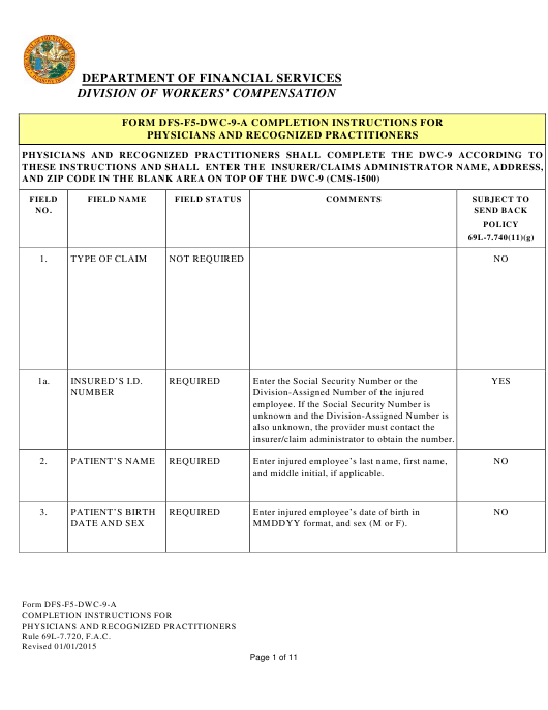 Form DFS-F5-DWC-9  Printable Pdf