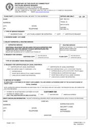 "Form FFSR-1-1.0 ""Fax Filing Service Request"" - Connecticut"