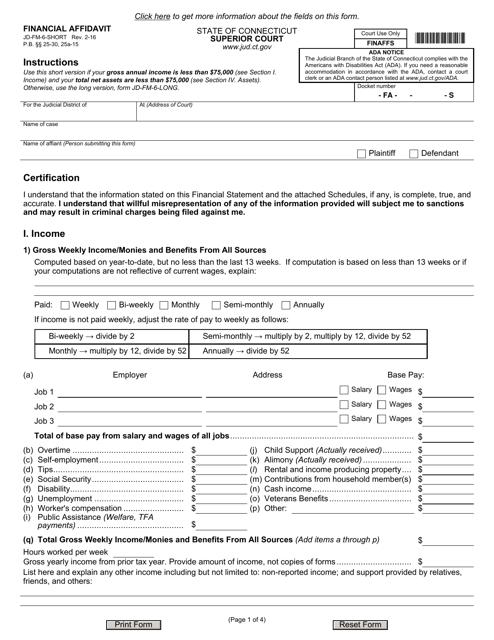 Form JD-FM-6-SHORT  Printable Pdf