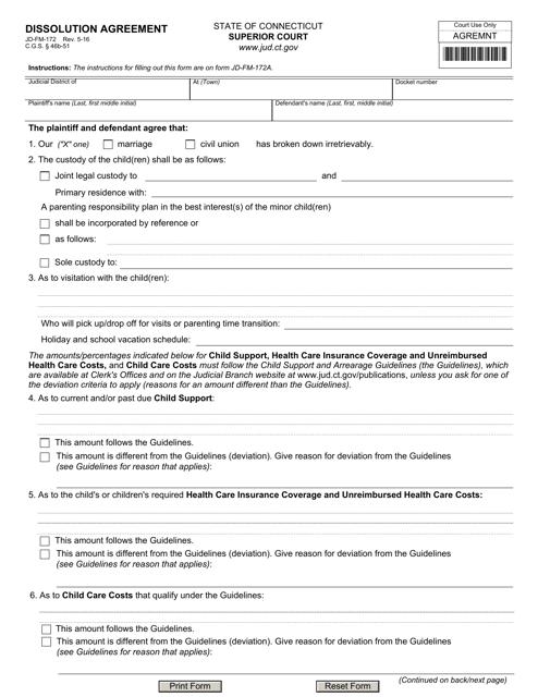 Form JD-FM-172  Printable Pdf