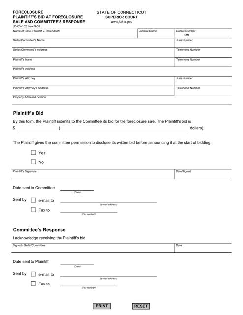 Form JD-CV-102  Printable Pdf