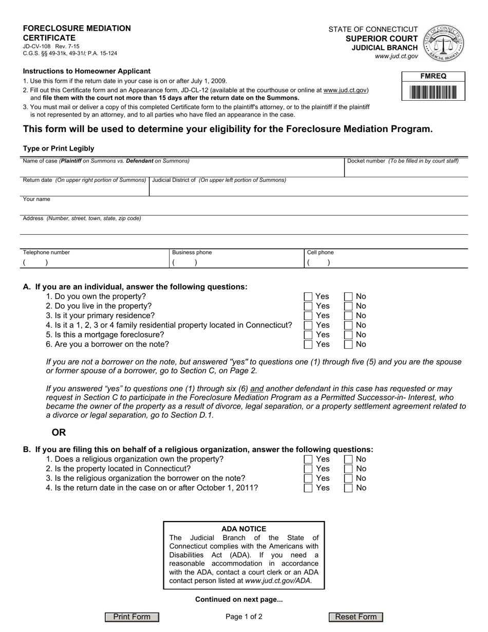 foreclosure certificate form mediation pdf templateroller jd connecticut cv
