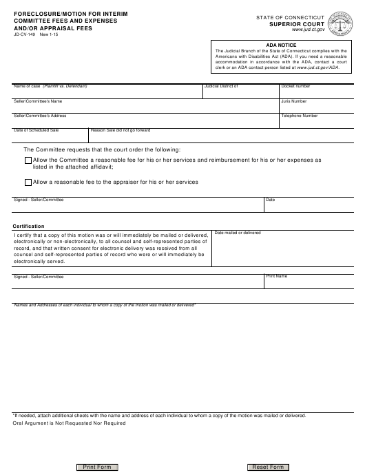 Form JD-CV-149  Printable Pdf