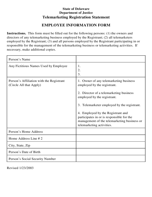 """Employee Information Form"" - Delaware Download Pdf"