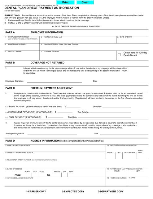 Form STD696  Printable Pdf