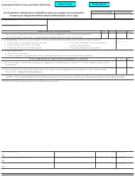 "Form STD.645 A ""Suggestion Evaluation Report"" - California"