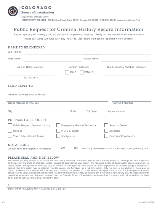 """Public Request for Criminal History Record Information"" - Colorado Download Pdf"