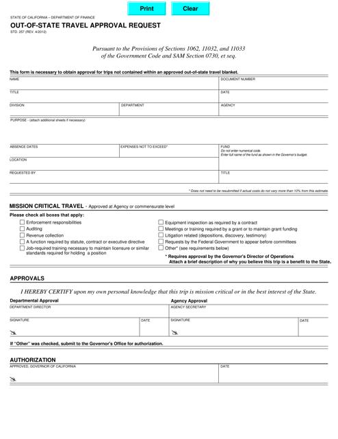 Form STD.257  Printable Pdf