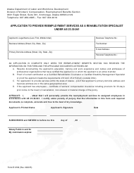 "Form 07-6166 ""Application to Provide Reemployment Services as a Rehabilitation Specialist Under as 23.30.041"" - Alaska"