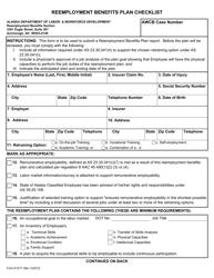 "Form 07-6171 ""Reemployment Benefits Plan Checklist"" - Alaska"