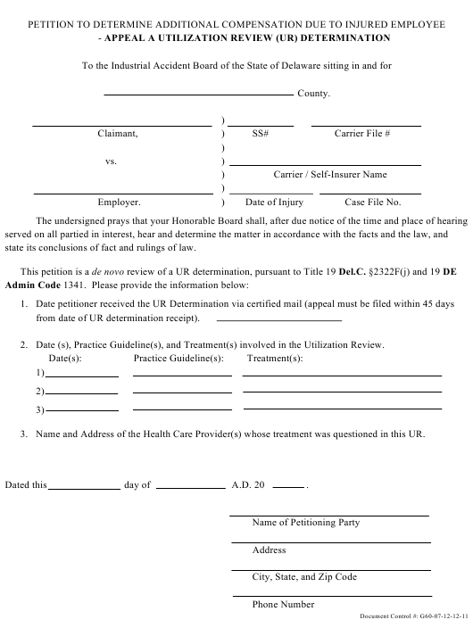 """""""Petition to Appeal a Utilization Review"""" - Delaware Download Pdf"""