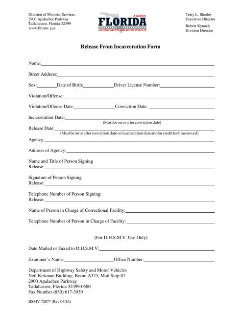 Form HSMV72077  Printable Pdf