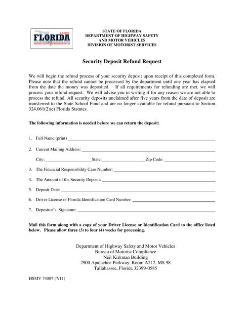 Form HSMV74007  Printable Pdf