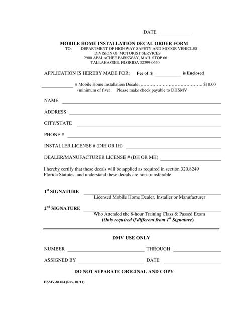 Form HSMV-81404 Printable Pdf