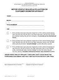 "Form HSMV82996 ""Application for Motor Vehicle Dealer/Auto Auction or Customer Odometer Affidavit"" - Florida"