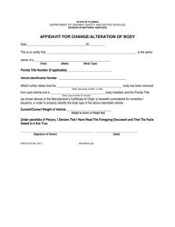 "Form HSMV82100 ""Affidavit for Change/Alteration of Body"" - Florida"