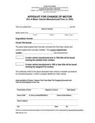 "Form HSMV82103 ""Affidavit for Change of Motor (For a Motor Vehicle Manufactured Prior to 1955)"" - Florida"