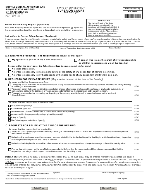 Form JD-FM-233  Printable Pdf