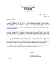 """Short Form Certificate of Dissolution"" - Delaware"