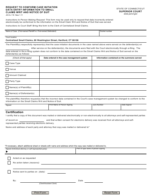Form JD-CL-116  Printable Pdf