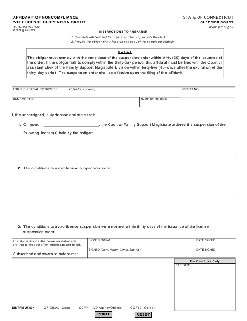 Form JD-FM-154  Printable Pdf