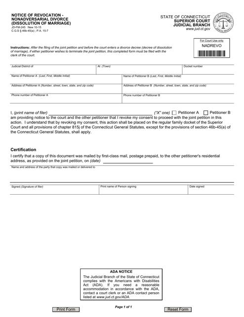 Form JD-FM-245  Printable Pdf
