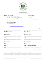 """Investor Protection Unit Complaint Form"" - Delaware"