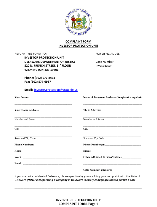 """Investor Protection Unit Complaint Form"" - Delaware Download Pdf"