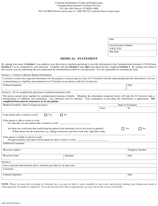 Form Uib 188 Download Printable Pdf Or Fill Online Medical