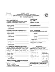 "Form DNR10-162V ""State Mining Location Notice/Certificate for Prospecting Sites"" - Alaska"