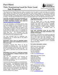 """Form 102-4043 """"Nomination of State Land for Sale"""" - Alaska"""