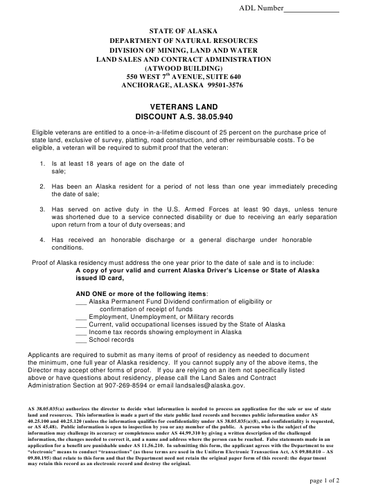 """Veteran Eligibility Application/Affidavit, Waiver of Veteran's Discount Eligibility, and Instructions for Veteran Land Discount"" - Alaska Download Pdf"