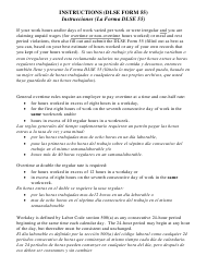"""Instructions for DLSE Form 55 """"Overtime, Rest Period, Meal Period Computation Form"""" - California (English/Spanish)"""