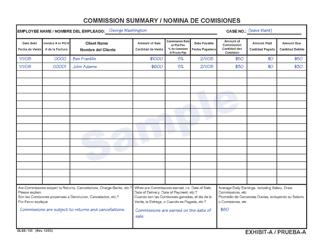 "Sample DLSE Form 155 Exhibit A ""Commission Summary"" - California (English/Spanish)"