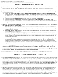 """Instructions for DLSE Form 1 """"Initial Report or Claim"""" - California"""