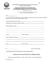 Form FDACS-08049 Nematode Certificate of Inspection for Shipping Nursery Stock to California - Florida