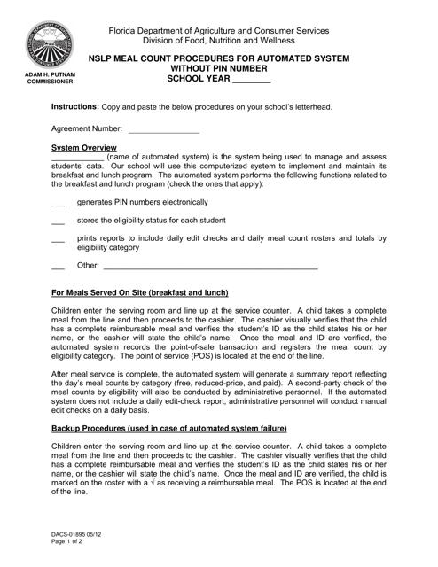 Form DACS-01895  Printable Pdf