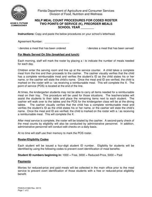 Form FDACS-01900  Printable Pdf