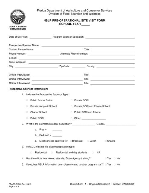 Form FDACS-01860  Printable Pdf