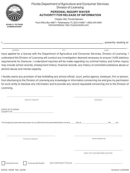 Form Dacs 16009 Download Printable Pdf Personal Inquiry